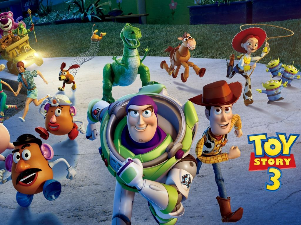 Buzz And Toy Story 3 Characters Running Wallpaper 1024×768