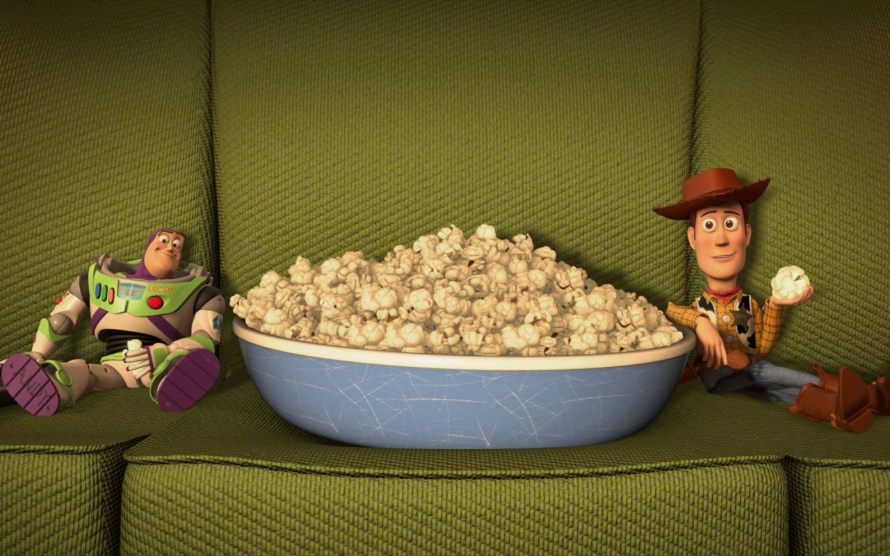 Buzz And Woody Eating Popcorn Wallpaper 1280x800