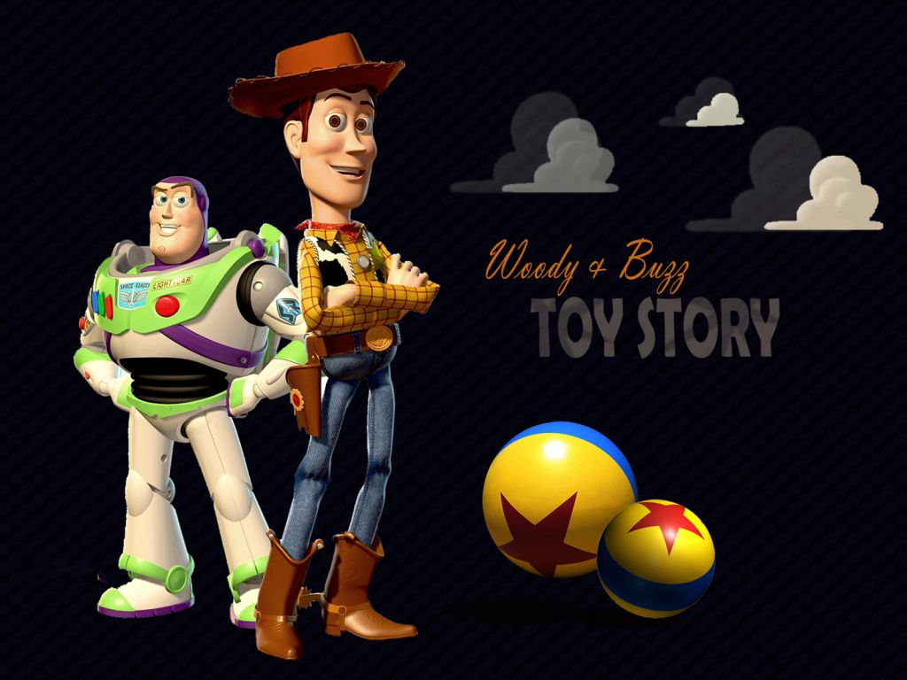 Buzz And Woody Standing Portrait Wallpaper 1024x768