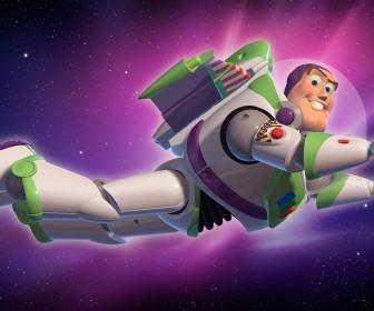 Buzz Lightyear Flying In Space Wallpaper