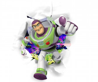 Buzz Lightyear Running Through White Background Wallpaper