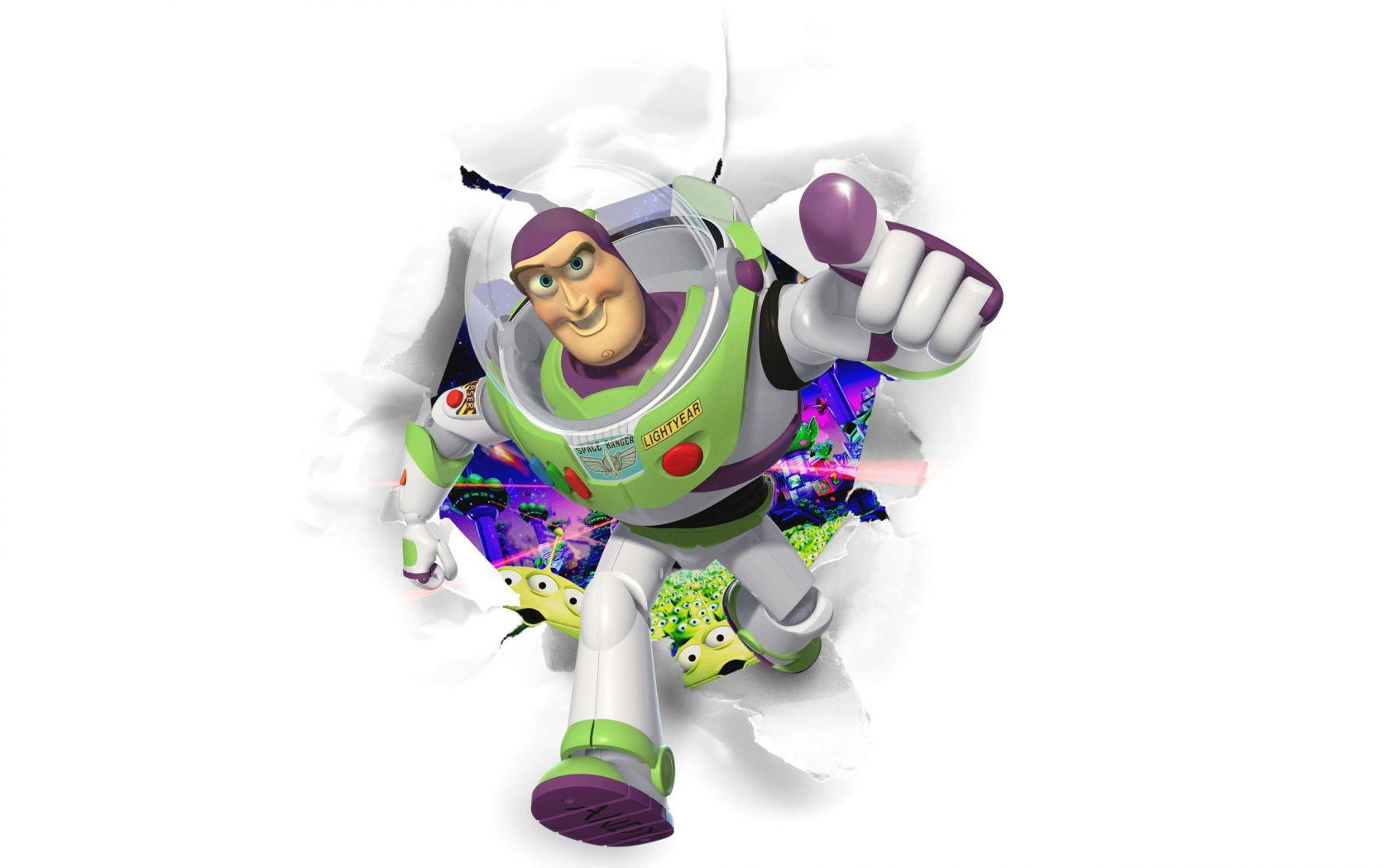 Buzz Lightyear Running Through White Background Wallpaper 1680x1050