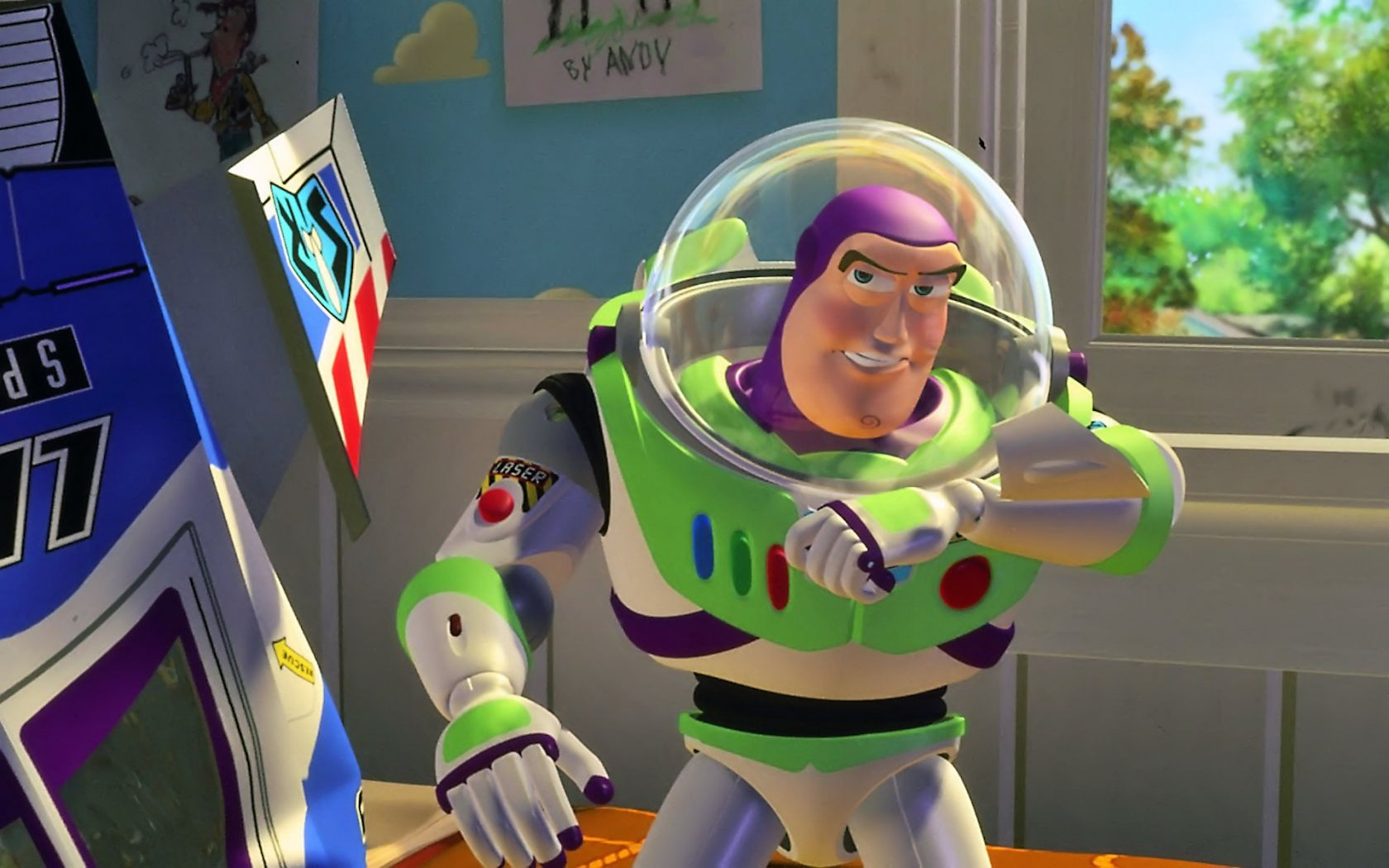 Buzz Lightyear Speaking On Wrist Radio Wallpaper 1680x1050