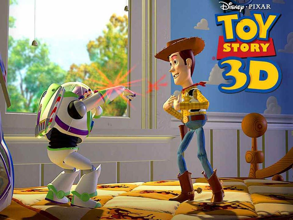 Buzz Points Laser To Woody Wallpaper 1024x768