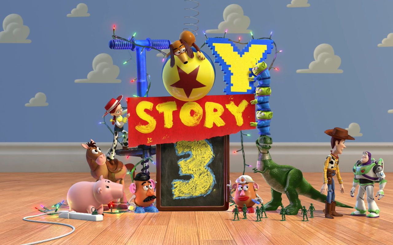 Toy Story 3 Characters Cloud Wall Wallpaper 1280x800