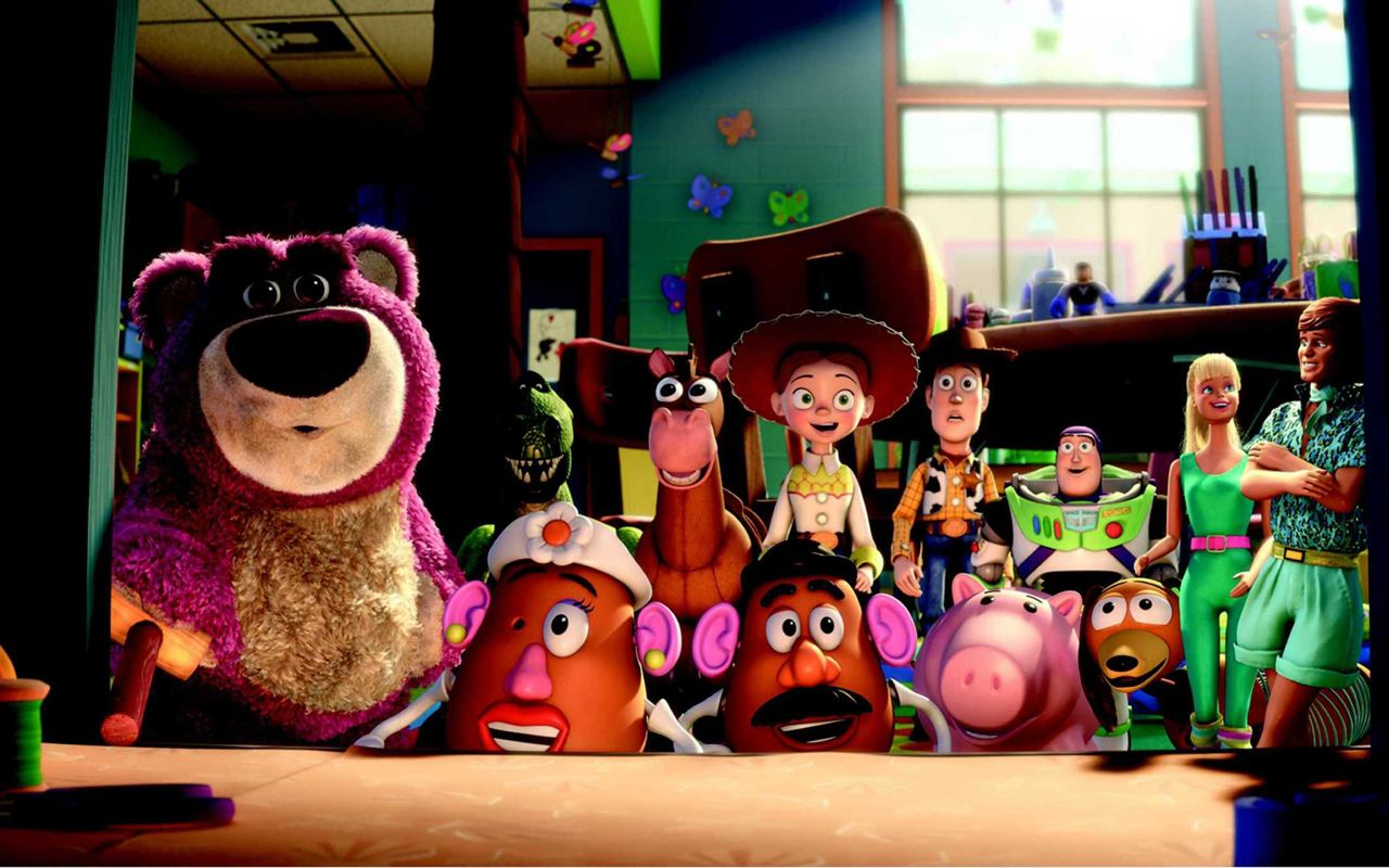 Toy Story 3 Characters Surprised Wallpaper 1280x800