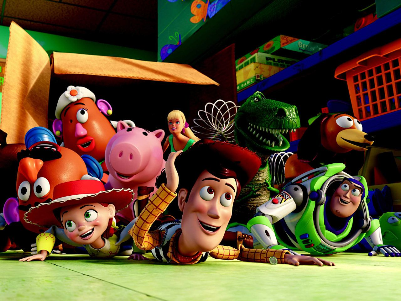 Toy Story Characters Out Of The Box Wallpaper 1280x960
