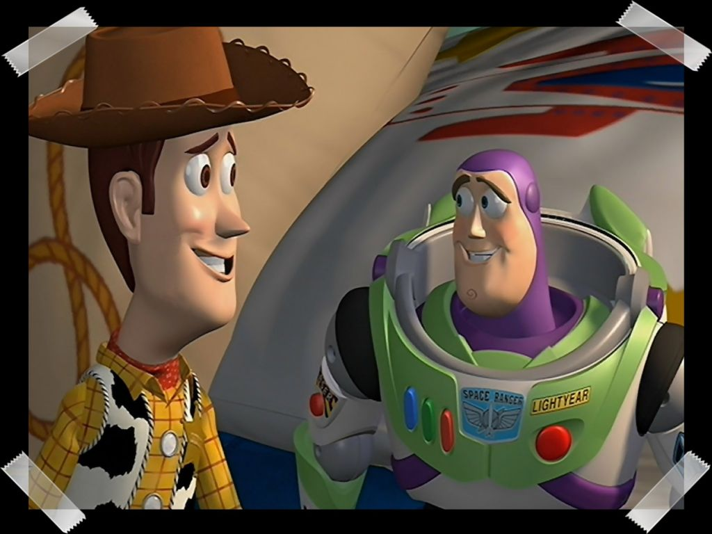 Woody And Buzz Taped Picture Wallpaper 1024x768